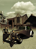 Bonnie and Clyde. Illustration based on real photographies of Bonnie and Clyde Royalty Free Stock Images