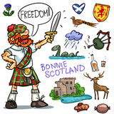 Bonnie Scotland cartoon clipart collection. Bonnie Scotland cartoon collection, funny Scottish man with sword Stock Photo