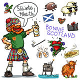 Bonnie Scotland cartoon clipart collection. Bonnie Scotland cartoon collection, funny Scottish man with whiskey Royalty Free Stock Photography