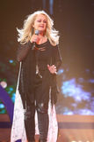 Bonnie Tyler sing on scene during concert royalty free stock photo