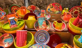 Provence traditional colored pottery sold at local market in Provence region. France stock images