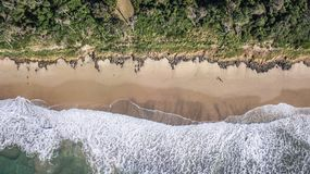 Bonny Hills beach from above. Beautiful view of bonny hills beach, beautiful contrast in colours from the sand, water and trees Stock Photography