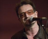 "Bono. Came down to the The Living Room in New York to sing a song with his fellow songwriter Glen Hansard, last Tuesday May 8th. They both sang  ""The Auld Royalty Free Stock Image"