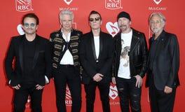 Bono, Adam Clayton, Larry Mullen Jr, The Edge, Neil Portnow Stock Photo