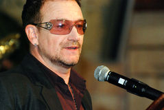 Bono. At The Arch Bishop Emeritus Desmond Tutu's official book launch 2011 Royalty Free Stock Photos