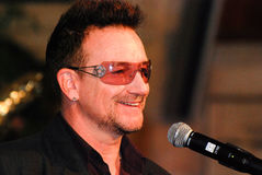 Bono. At The Arch Bishop Emeritus Desmond Tutu's official book launch 2011 Royalty Free Stock Images