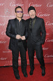 Bono & The Edge. PALM SPRINGS, CA - JANUARY 4, 2014: Bono (left stock photos