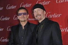 Bono & The Edge. PALM SPRINGS, CA - JANUARY 4, 2014: Bono (left) & The Edge, from U2, at the 2014 Palm Springs International Film Festival Awards gala at the stock photo