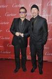 Bono & The Edge. PALM SPRINGS, CA - JANUARY 4, 2014: Bono (left) & The Edge, from U2, at the 2014 Palm Springs International Film Festival Awards gala at the royalty free stock image