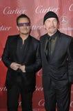 Bono & The Edge. PALM SPRINGS, CA - JANUARY 4, 2014: Bono (left) & The Edge, from U2, at the 2014 Palm Springs International Film Festival Awards gala at the stock image