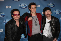 Bono,Reeve Carney,The Edge. Bono, Reeve Carney and The Edge at the 'American Idol' Season 10 Finale Press Room, Nokia Theatre L.A. Live, Los Angeles, CA 05-25-11 stock images