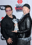 Bono and The Edge. Of U2 at the 2016 iHeartRadio Music Awards - Press Room held at the Forum in Inglewood, USA on April 3, 2016 stock images