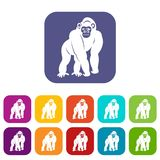 Bonobo icons set flat Stock Photography