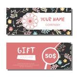 Bons de cadeau avec le fond floral Photo stock