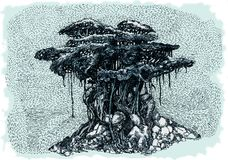 Bonsai Banyan. Bonsai banyan with air roots. An ink drawing, illustration Royalty Free Stock Photography