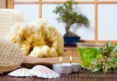 Bonsai and bath products. Spa bath products, green tea and bonsai tree against a traditional japanese shoji sliding window Royalty Free Stock Photos
