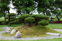 Bonsai in chinese stone garden. Some Bonsai plants on a hill in a chinese asian stone garden with some bushes in the background. some people call this kind of Stock Photo