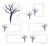 Bonsai  cut coupons. Blue and silver bonsai cut coupons Stock Photo