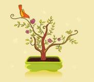 Bonsai en vogel Stock Illustratie