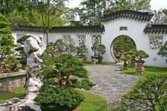 Bonsai garden. Entrance to a bonsai garden in a chinese temple stock photos
