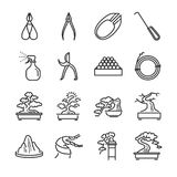 Bonsai line icon set. royalty free illustration