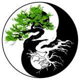 Bonsai nel simbolo di Yin Yang royalty illustrazione gratis