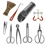 Bonsai tools collection - nine tools Stock Photos