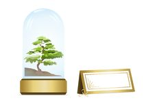 Bonsai tree, cdr vector. Bonsai tree in crystal globe and blank card for text, vector format vector illustration
