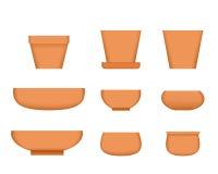 Bonsai tree pot in realistic style, Clay plant pot Royalty Free Stock Photos