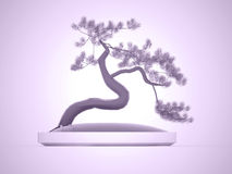 Bonsai tree rendered on purple Royalty Free Stock Image