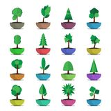 Bonsai trees vector  icons set japanese style Stock Photos