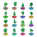 Bonsai trees vector  icons set japanese style Stock Photos