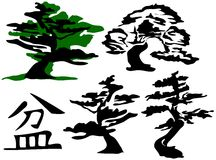 Bonsais-Bäume u. Zeichen [Vektor] Stockfotografie