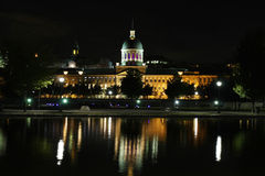 Bonsecours Market. Of Montreal, Canada at night with a reflection royalty free stock photos