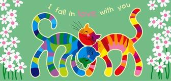 Bont katten in liefde Royalty-vrije Stock Afbeeldingen
