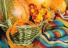Bont pompoenen in mand voor Halloween Stock Afbeeldingen