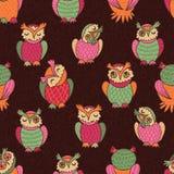 Bont uilen naadloos patroon Royalty-vrije Stock Foto