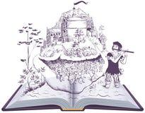 Bonte pijper van sprookje van de het boekillustratie van Hamelin het open stock afbeeldingen