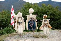 Bonthoeden van schapenwol worden gemaakt in Mtskheta, Georgië dat royalty-vrije stock fotografie