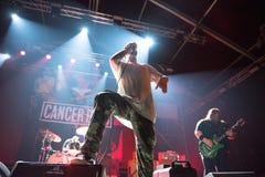 Hardcore punk concert. BONTIDA, ROMANIA - JULY 22, 2018: Canadian hardcore punk band from Toronto, Cancer Bats rocking live at Electric Castle festival Stock Photography