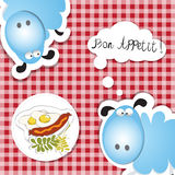 Bonu appettit jajka i hot dog Zdjęcie Stock