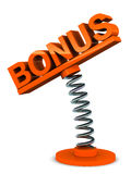 Bonus. Word on a spring bound label holder, award, r&r and compensation concept Royalty Free Stock Image