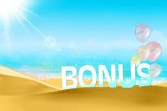 Bonus on a beach background Stock Photography