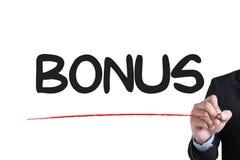 BONUS. Businessman hand writing with black marker on white background vector illustration