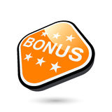 Bonus Button. A 3D illustration of a glossy orange button with BONUS caption, isolated on white background stock illustration