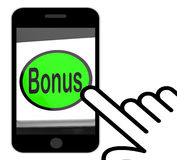 Bonus Button Displays Extra Gift Or Gratuity Online Royalty Free Stock Images