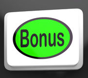 Bonus Button Shows Extra Gift Or Gratuity Online Royalty Free Stock Image