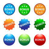 Bonus buttons. Illustration of colorful bonus buttons Royalty Free Stock Photography