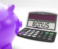 Bonus Calculator Shows Perk Extra Or Incentive Royalty Free Stock Photo