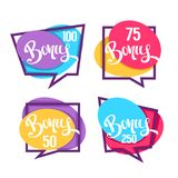 Bonus, Congratulation Bright Bubbles Collection With Lettering C Royalty Free Stock Photos